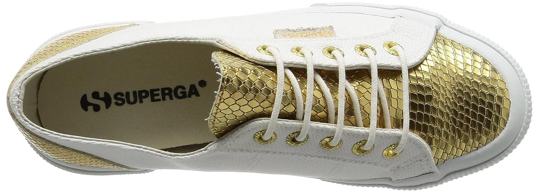 Superga Unisex-Erwachsene 2750 Cotleasnakeu Sneaker, Mehrfarbig weiß Mehrfarbig Sneaker, (Weiß Gold) 24ac36