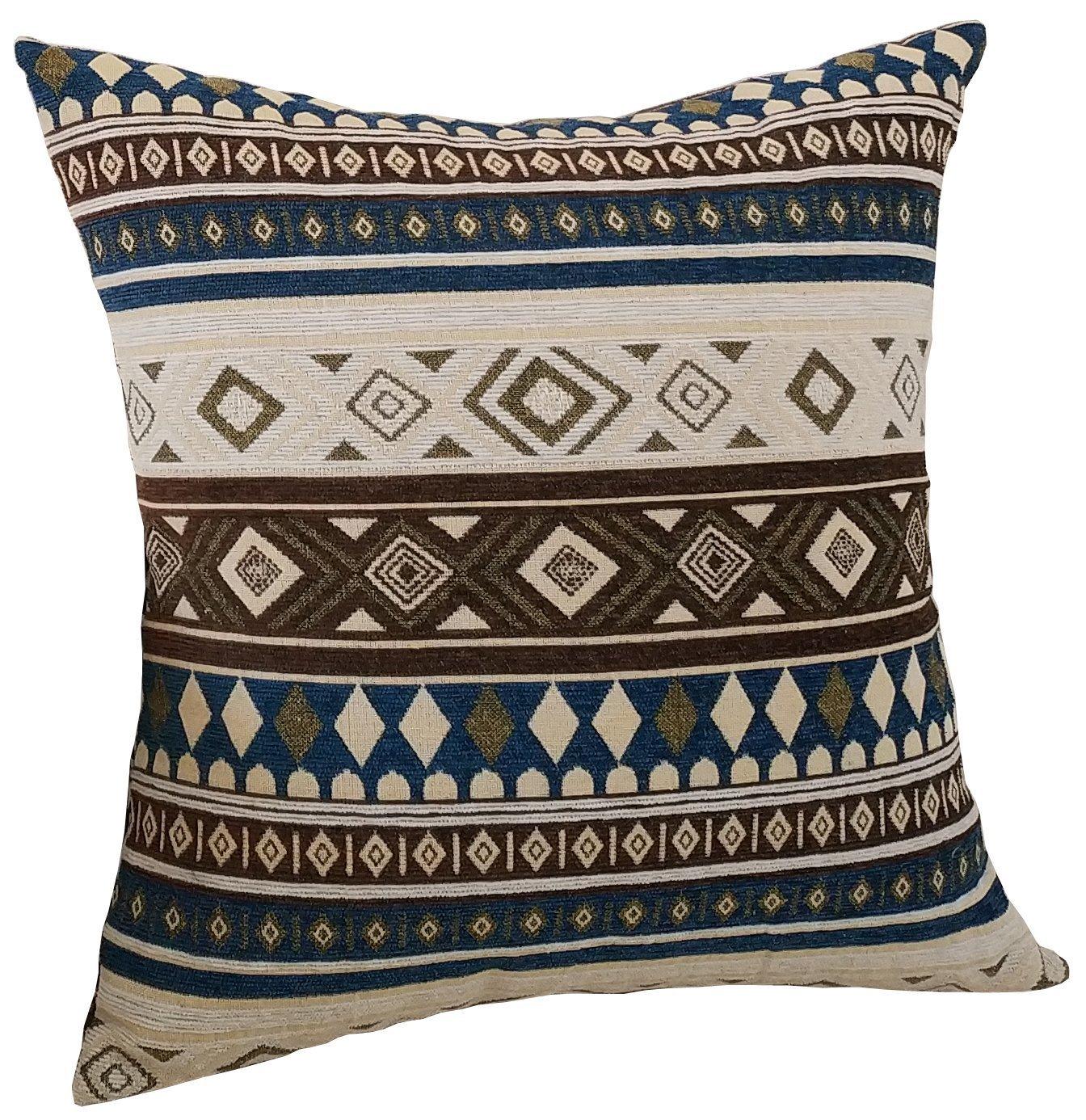 M MOCHOHOME Bohemian Style Retro Decorative Cotton/Linen Blend Geometric Square Euro Throw Pillow Cover Case Pillowcase Cushion Sham - 16'' x 16'', Coffee/Beige/Blue