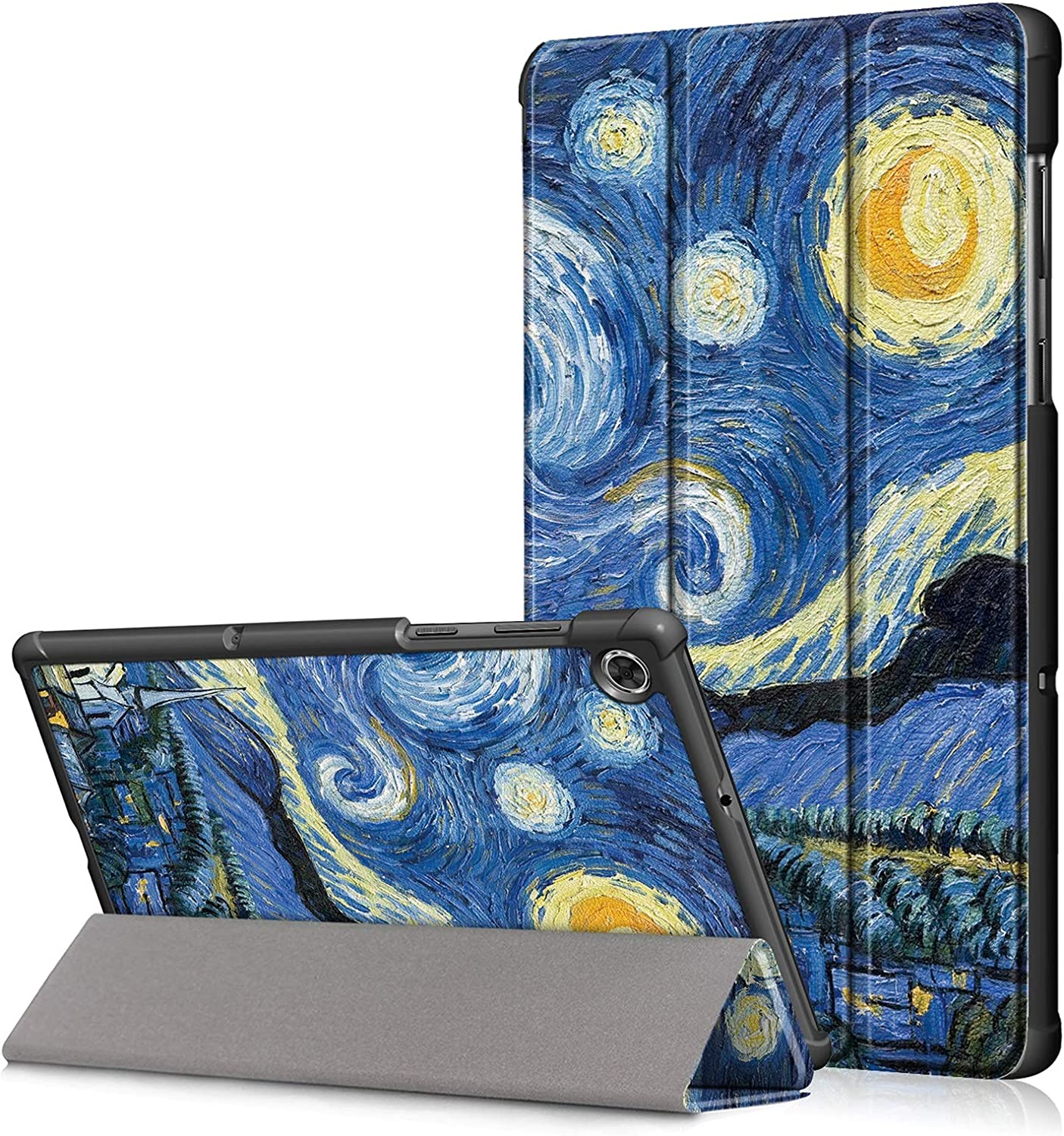 DETUOSI Smart Case Compatible with Lenovo Tab M10 HD 10.1 inch 2020 [2nd Gen] (Model: TB-X306F) Tablet,【Auto Sleep/Wake】 Slim Lightweight PU Leather Tri-Fold Magnetic Stand Shell Cover #Starry Sky