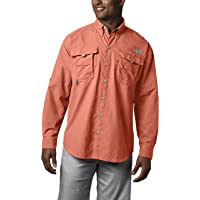 Columbia Men's PFG Bahama II Long Sleeve Breathable Fishing Shirt (Bright Peach)