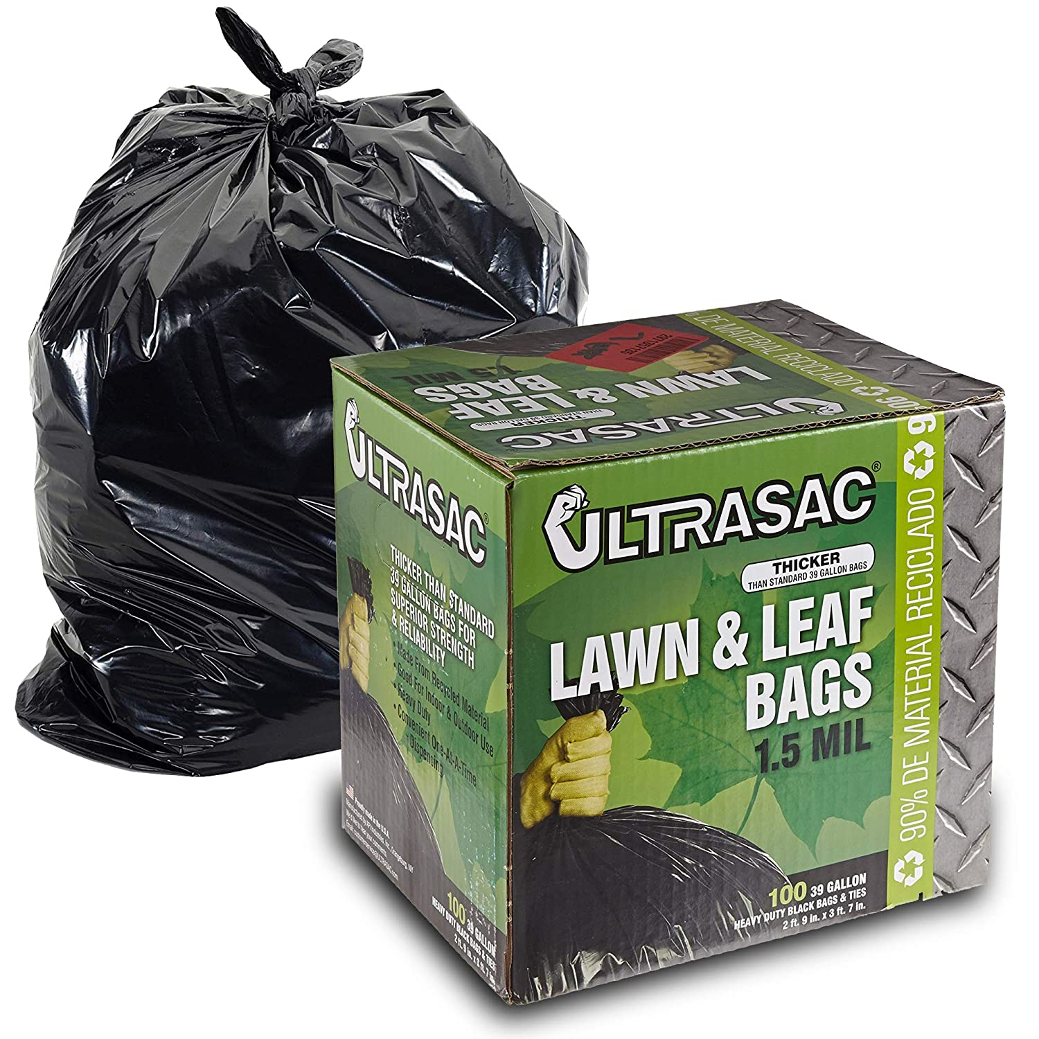 Lawn and Leaf Bags by Ultrasac - 39 Gallon Garbage Bags (HUGE 100 Pack/w Ties) 43' x 33' Heavy Duty Industrial Yard Waste Bag - Professional Outdoor Trash Bags for Contractors and more