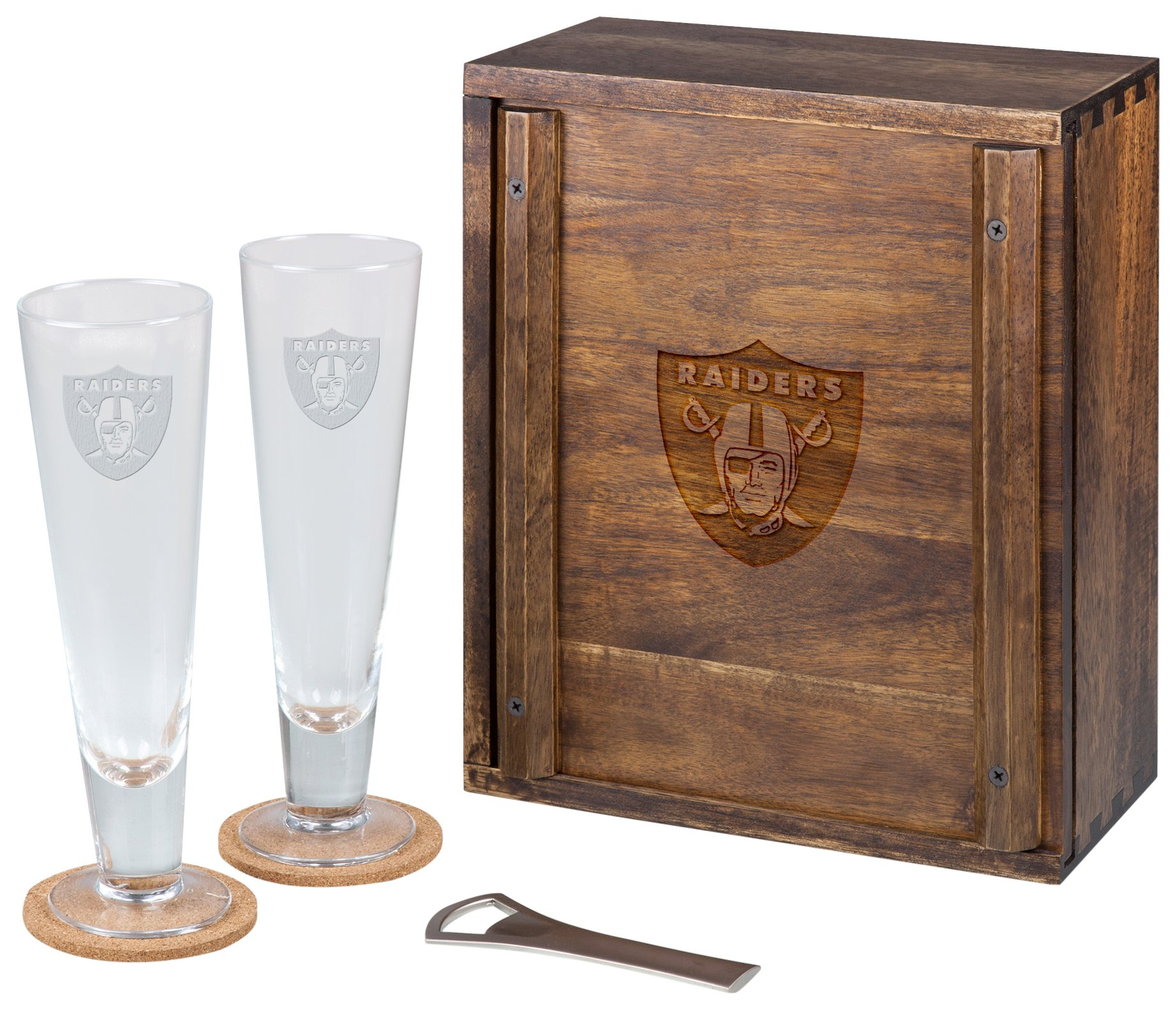 PICNIC TIME NFL Oakland Raiders Acacia Wood Pilsner Beer Glass Gift Set for Two