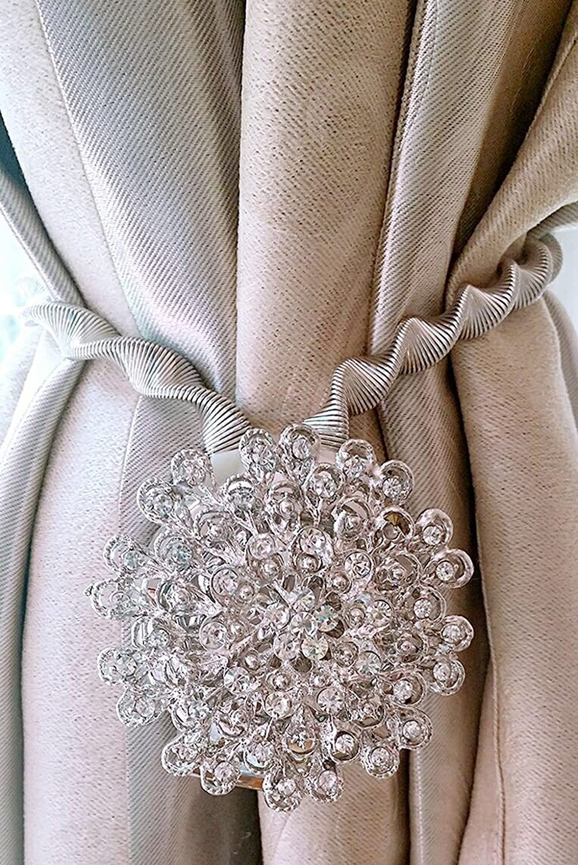 Btsky 2 packs magnetic crystal curtain tiebacks decorative for Decorative holdbacks