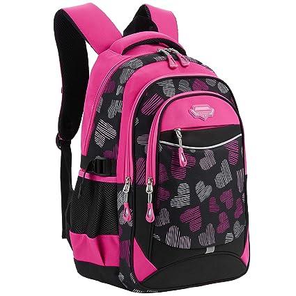 Cartable Fille, Fanspack Cartable Fille Sac a Dos Fille Grand Sac Enfant Fille Sac Ecole Fille Sac Scolaire Fille en Nylon