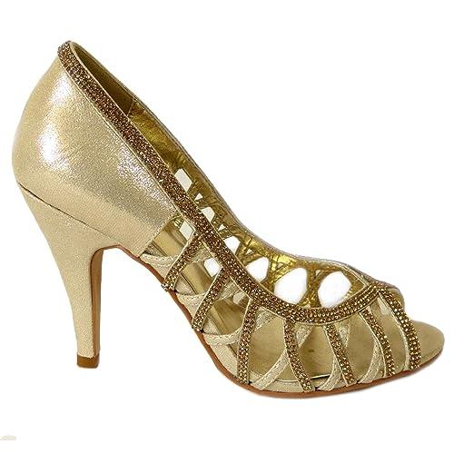 d265cfcb Mujer Señoras Noche Boda Fiesta Paseo Diamante Medio Alto Tacón Casual  Peeptoe Oro Sandalias Zapatos Tamaño 41: Amazon.es: Zapatos y complementos