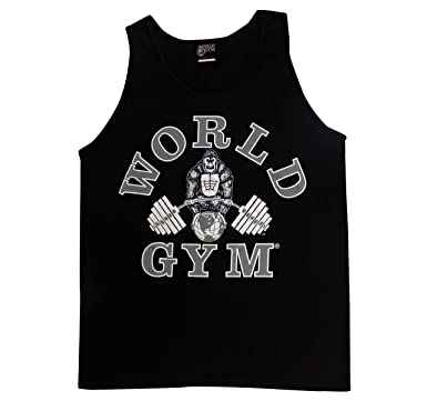 afb116994fb78 Amazon.com  W321 World Gym Tank Top Athletic-Cut Classic Logo  Clothing