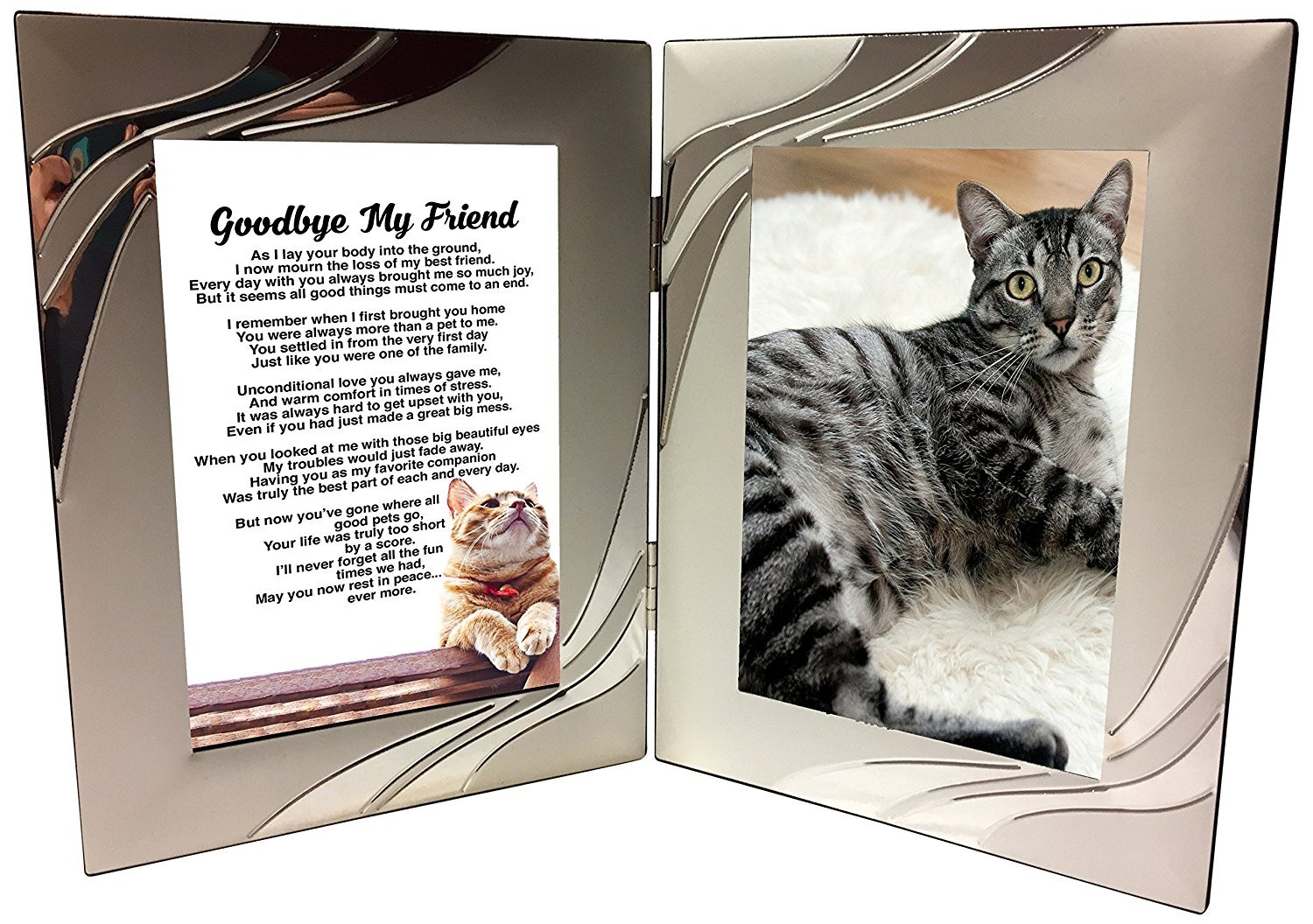 Amazon pet cat bereavement photo frame gift unique amazon pet cat bereavement photo frame gift unique sentimental memorial sympathy poem in 4 x 6 inch silver double picture frame just add your own jeuxipadfo Gallery