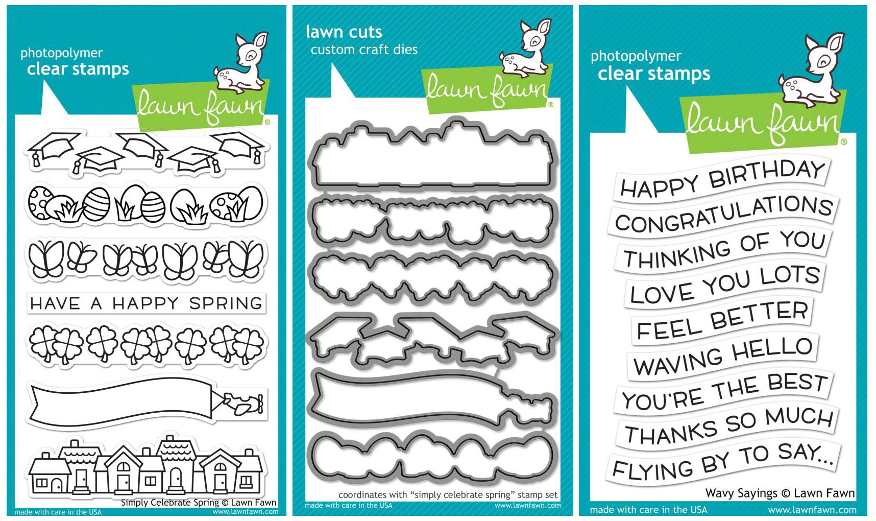 Lawn Fawn - Simply Celebrate Spring Clear Stamp and Die Sets with Wavy Saying Clear Stamps - 3 Items
