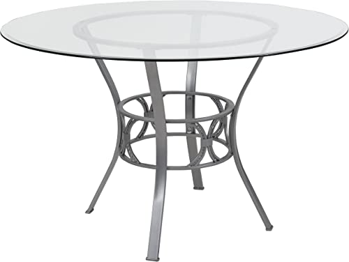 Flash Furniture Carlisle 48 Round Glass Dining Table with Silver Metal Frame