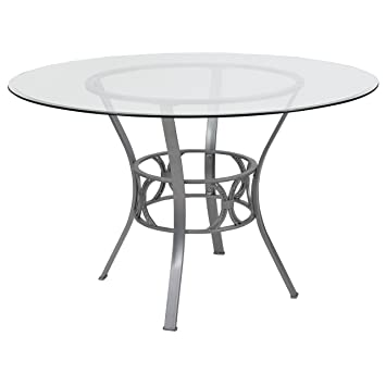 Amazon.com - Flash Furniture Carlisle 48\'\' Round Glass Dining Table ...
