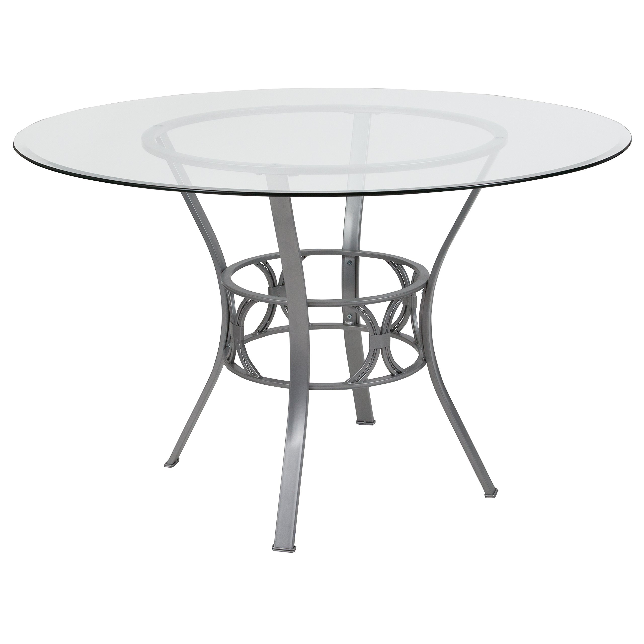 Flash Furniture Carlisle 48'' Round Glass Dining Table with Silver Metal Frame