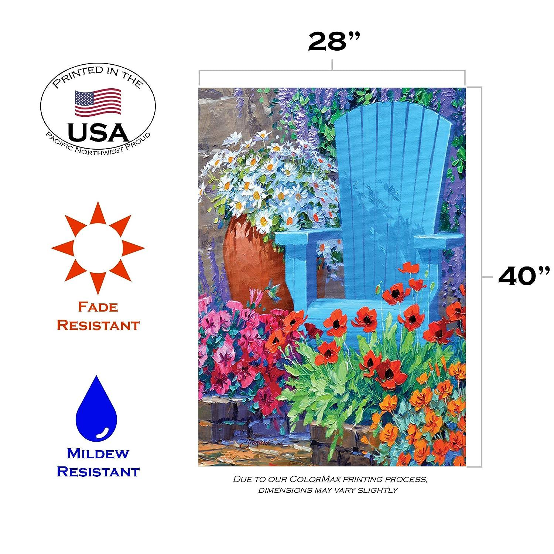 Toland Home Garden Adirondack Arrangement 28 x 40 Inch Decorative Spring Summer Flower Floral House Flag