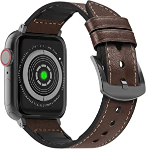 MARGE PLUS Compatible Apple Watch Band 40mm 38mm, Sweatproof Hybrid Genuine Leather and Silicone Sports Watch Band Replacement for iWatch SE Series 6 5 4 3 2 1, Dark Brown/Space Gray