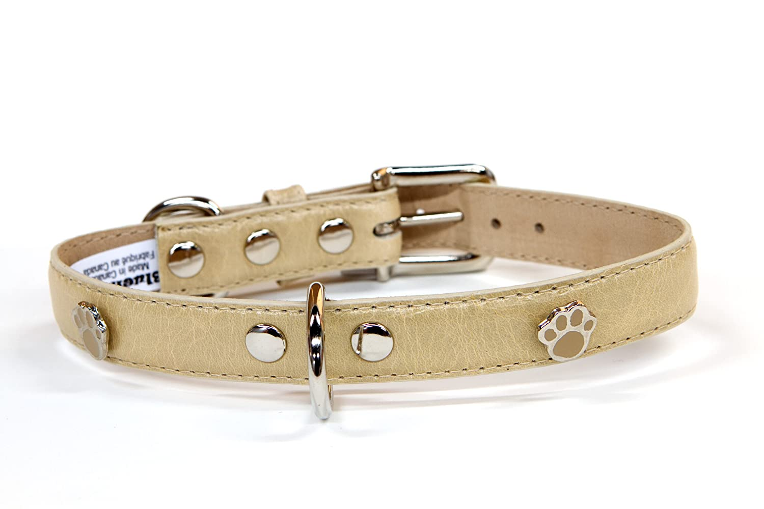 blueemax Genuine Leather Vintage Cow Dog Collar with Paw Stud, 5 8-Inch by 10-Inch, Bone
