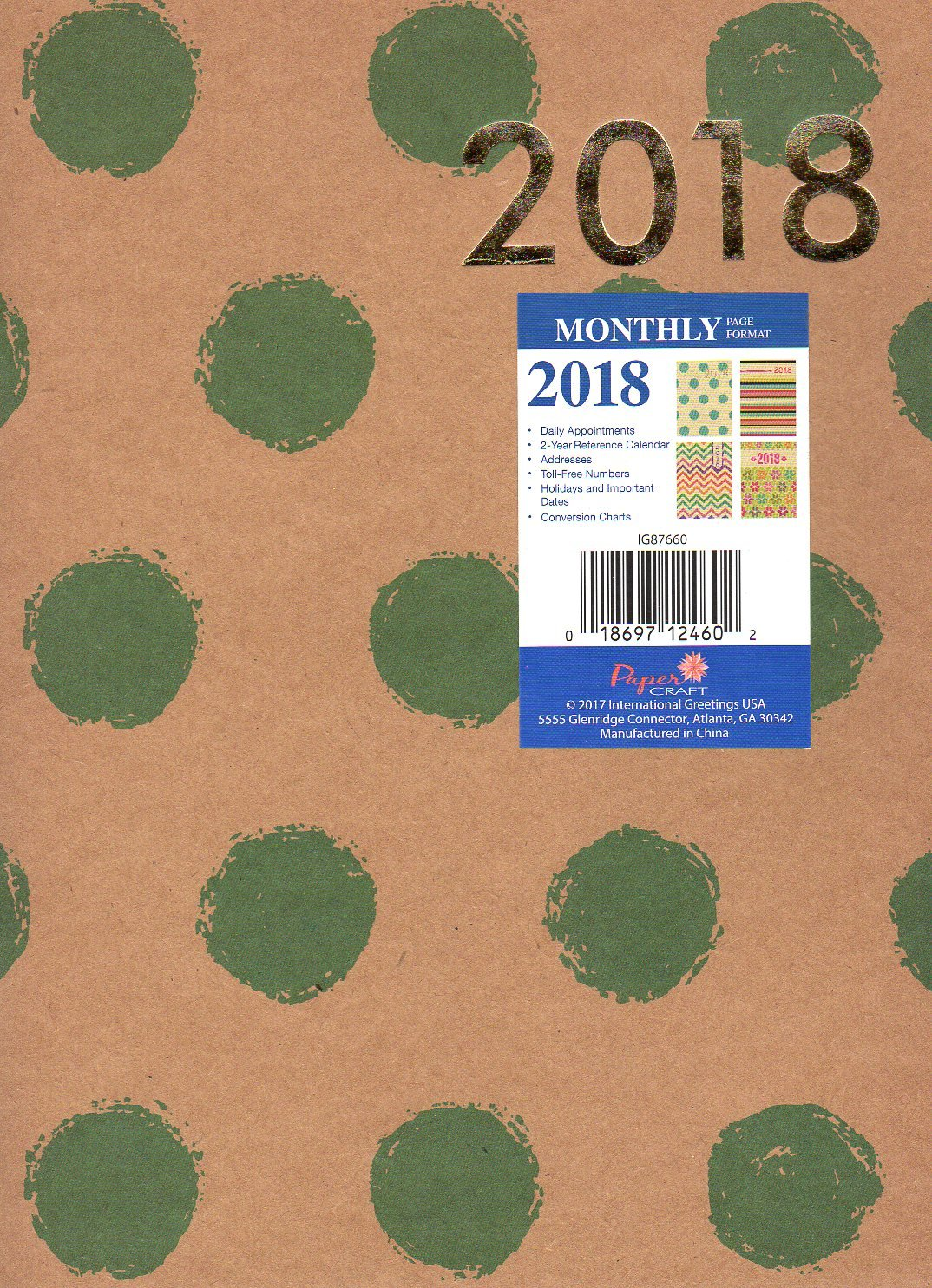 Amazon com : 2018 Natural Brown Green Dot Patterned Monthly Planner