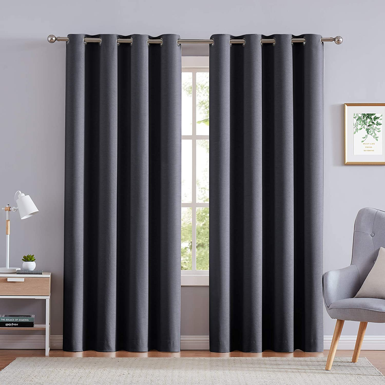 NATWIN Beige Curtains for Living Room 63 Chevron Cream Room Darkening Linen Curtain Drapes Grommet Top 2 Panels