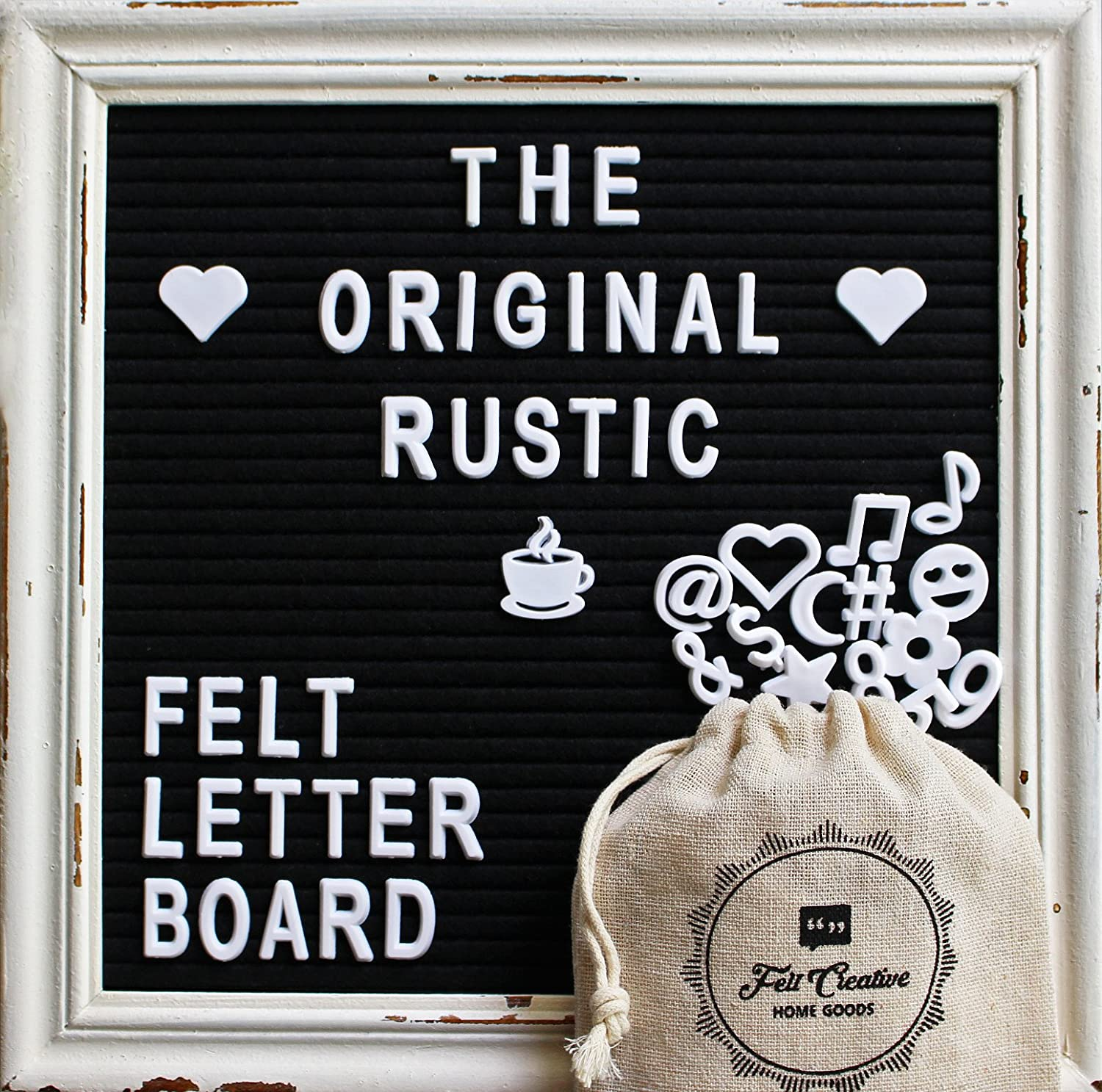 Black Felt Letter Board with Rustic White Wood Farmhouse Vintage Frame and Stand by Felt Creative Home Goods | 10x10 Inch Antique Changeable Message Board 350 White Alphabet Letters, Numbers, Emojis