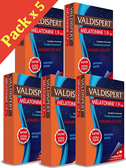Valdispert - Comprimido bucodispersable de melatonina 1,9 mg - Pack de 5 x 40