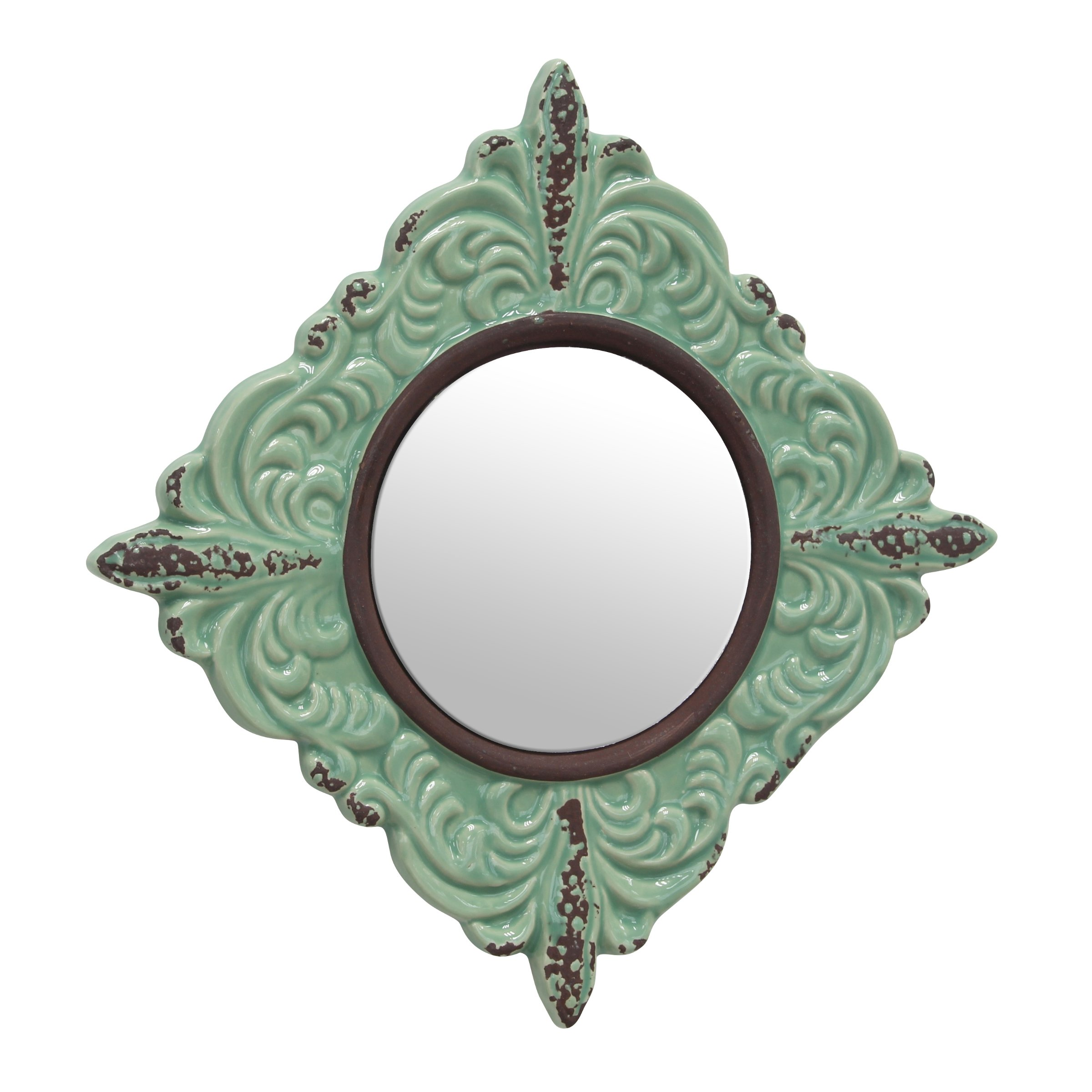 Stonebriar SB-5039A Decorative Antique Green Ceramic Wall Mirror, Vintage Home Décor for Living Room, Kitchen, Bedroom, or Hallway, French Country Decor