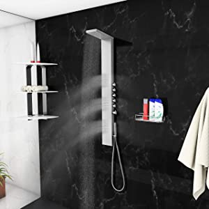 """Blue Ocean 65"""" Stainless Steel SPS8852 Thermostatic Shower Panel with Rainfall Shower Head, Body Nozzles, and Handheld Shower Head"""