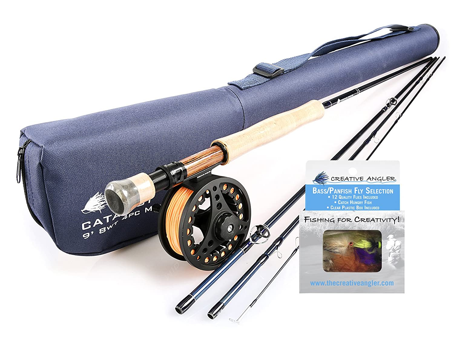 Catalyst Fly Rod and Fly Reel Combo 8wt with Bass Fly Selection for Fly Fishing   B01M6UZ3CI