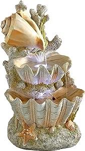 Design Toscano SS12719 Ocean's Bounty Seashell Coastal Garden Decor Cascading Fountain Water Feature, 20 Inch, Full Color