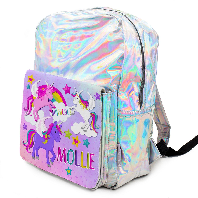 Personalised Pink Purple Dino Dinosaurs Girls Kids Backpack Childrens School Bag