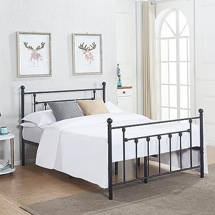 Amazon.com: Premium Full Size Bed Frame, VECELO Metal Platform ...