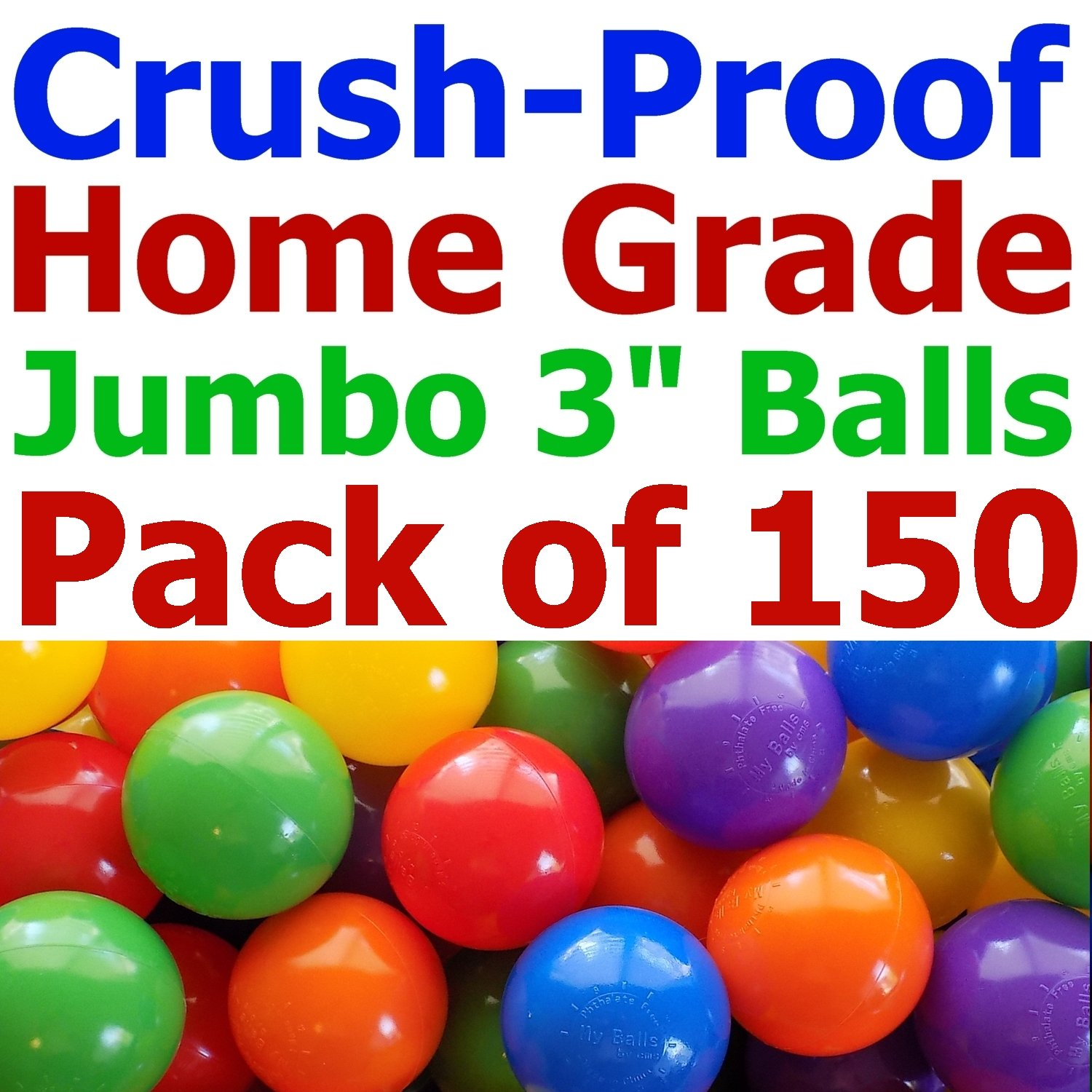 150 pcs Large 3.1'' Crush-Proof non-PVC Phthalate Free Plastic Ball Pit Balls - Air-Filled in 5 Colors - Guaranteed Crush-Proof by My Balls