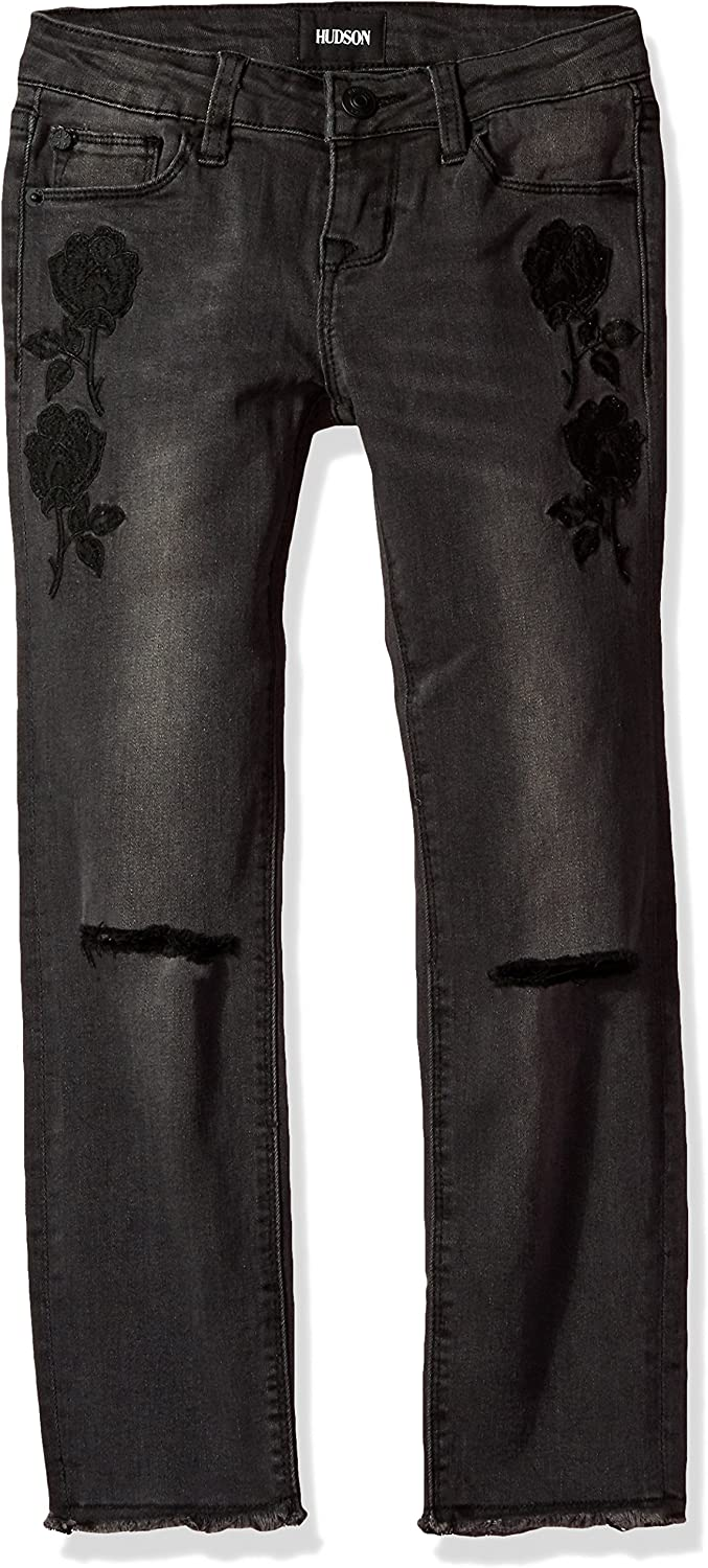 HUDSON Girls Big Black Iris Ankle Skinny with Embroidery