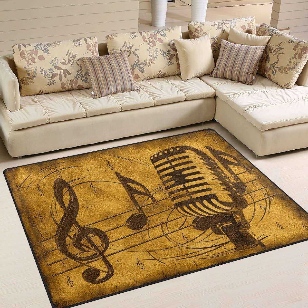 1.7 x 2.6 ft Music Note Nursery Rug Floor Carpet Yoga Mat Naanle Vintage Music Theme Non Slip Area Rug for Living Dinning Room Bedroom Kitchen 50 x 80 cm