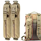 AMYIPO Backpack Shoulder Strap Tactical Molle Accessory Pouch, Multi-Purpose Holder Shoulder Strap Bag Hunting Tools Pouch (Tan-2PCS)