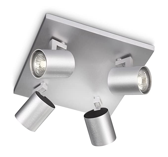 Philips Foco 530944816 Iluminacion GU10, 50 W, Gris 4 puntos de luz: Amazon.es: Iluminación