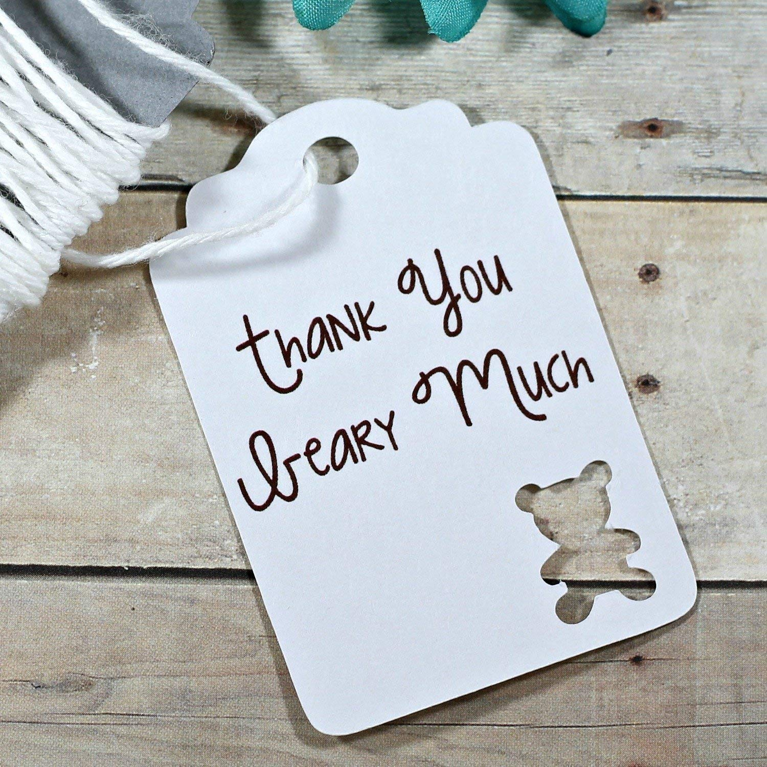 White Teddy Bear Gift Tags - Baby Shower Favors - Thank You Beary Much (Set of 20)