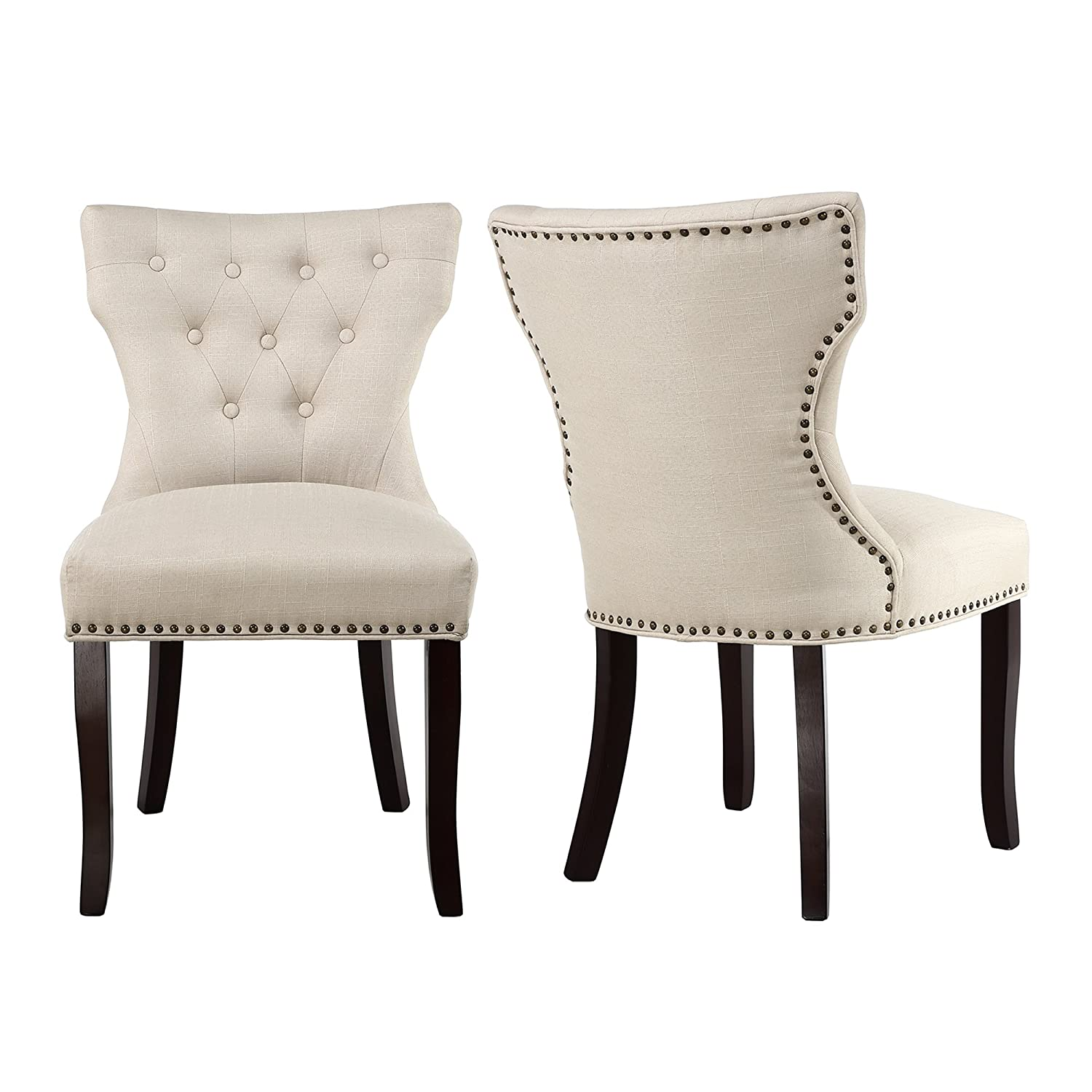Amazon.com - LSSBOUGHT Set of 2 Fabric Dining Chairs Leisure Padded Chairs with Brown Solid Wooden Legs Nailed Trim (Beige) - Chairs  sc 1 st  Amazon.com & Amazon.com - LSSBOUGHT Set of 2 Fabric Dining Chairs Leisure Padded ...