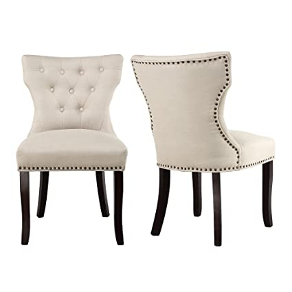 LSSBOUGHT Set Of 2 Fabric Dining Chairs Leisure Padded Chairs With Brown  Solid Wooden Legs,