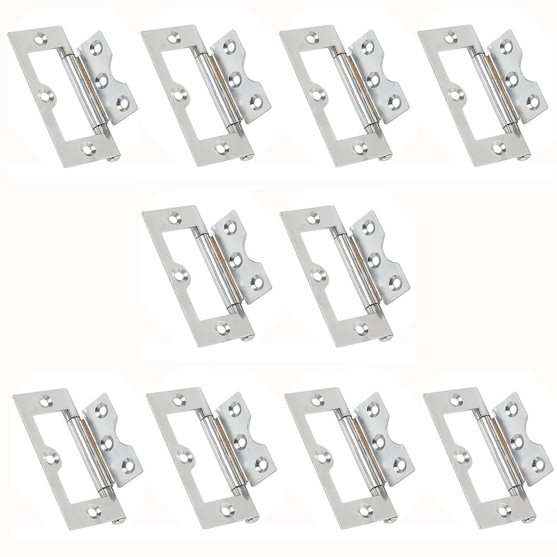 Pack of 10 76mm x 33mm Visua Steel Flush Door Cabinet Hinges Polished Chrome