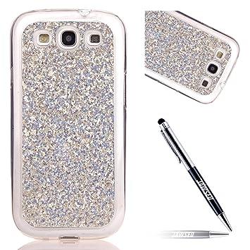 Carcasa Samsung Galaxy S3 neo, Funda Samsung Galaxy S3 neo, JAWSEU Samsung Galaxy S3 neo i9300 Carcasa Caso Estuche Purpurina llamativa 3D Creativa ...