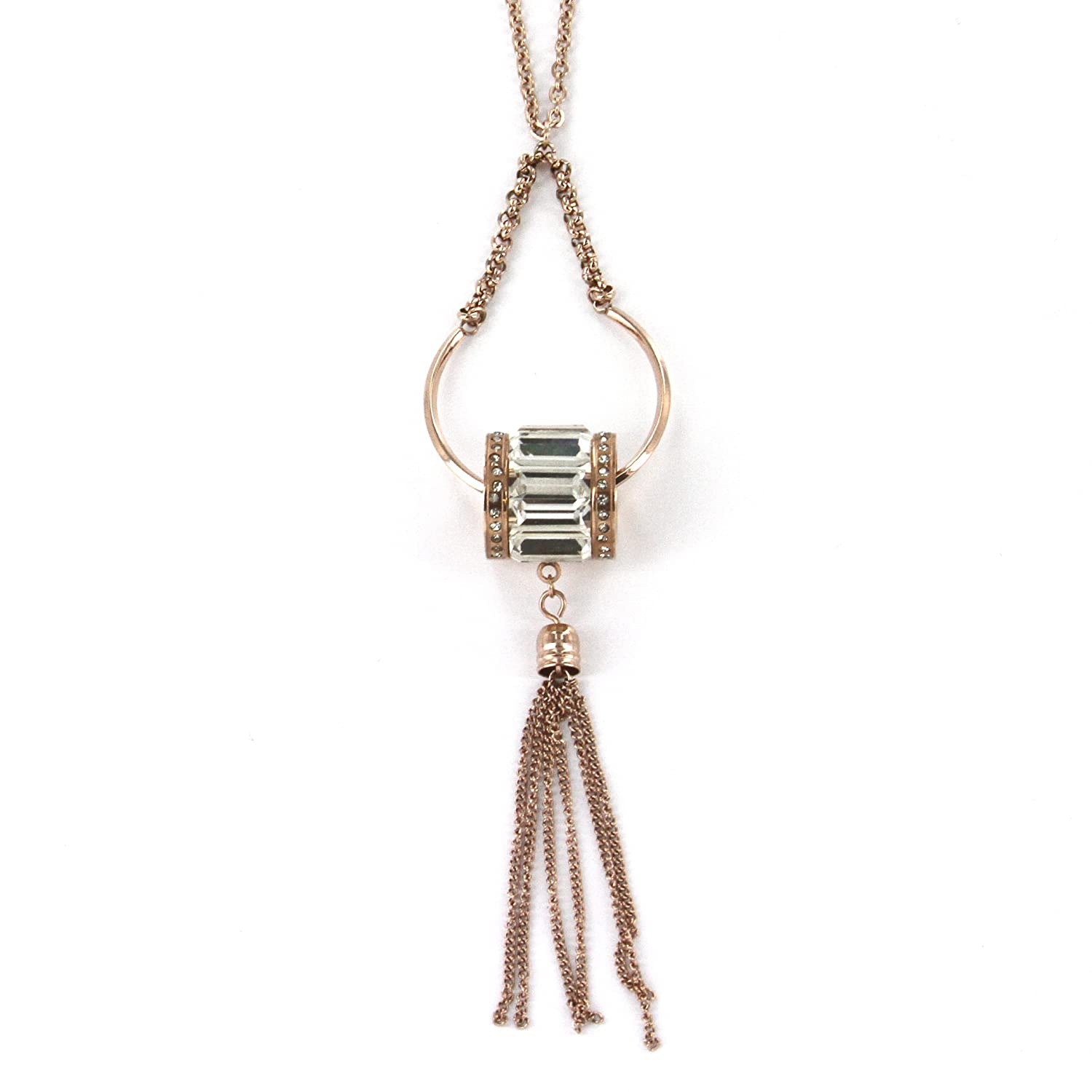 4 Dangle Pendant and 19 Necklace with 2 Extender Stainless Steel Rose Gold Color Barrel Shape Bead Fashion Pendant Necklace in Multiple Crystals