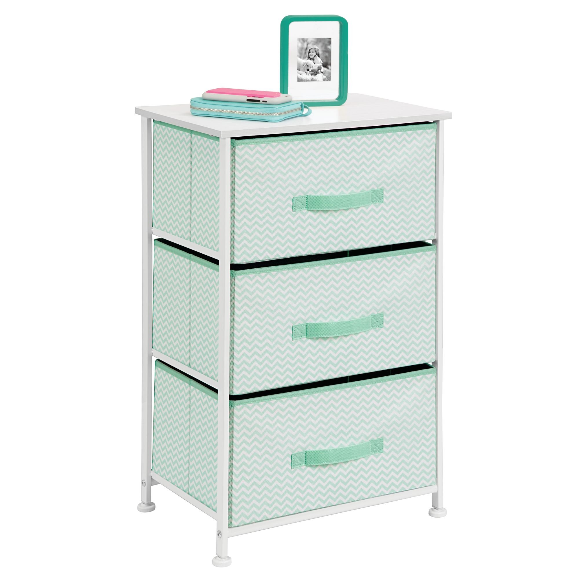 mDesign Vertical Dresser Storage Tower - Sturdy Steel Frame, Wood Top, Easy Pull Fabric Bins - Organizer Unit for Bedroom, Hallway, Entryway, Closets - Chevron Print - 3 Drawers, Mint/White by mDesign (Image #3)