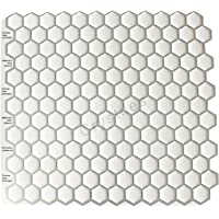 "Crystiles Peel and Stick Self-Adhesive DIY Backsplash Stick-on Vinyl Wall Tiles for Kitchen and Bathroom Décor Projects, Hexagon White, Item# 91010840, 10"" X 10"" Each, 6 Sheets Pack"