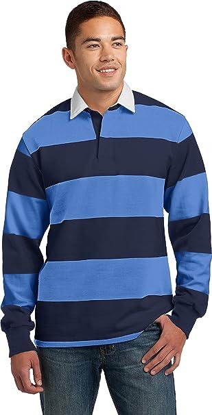 245fe4881cb Sport-Tek Men's Long Sleeve Rugby Polo XS True Navy/Carolina Blue