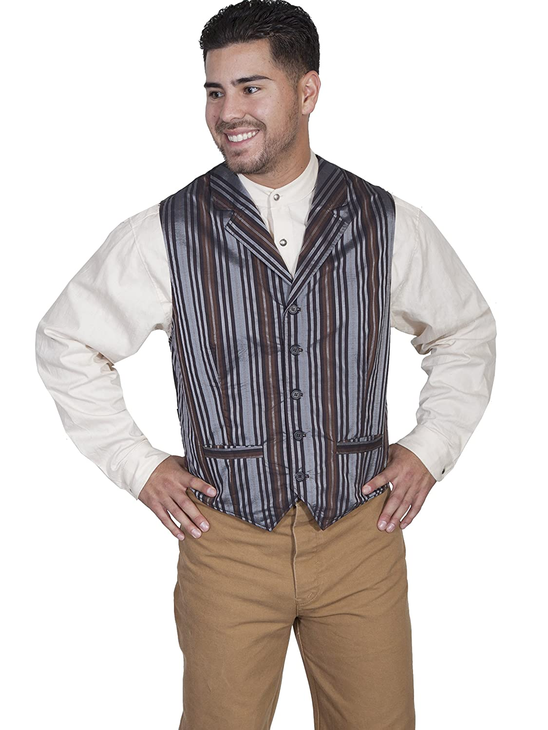 Men's Vintage Inspired Vests Scully RW268 Mens Stripe Vest $55.05 AT vintagedancer.com