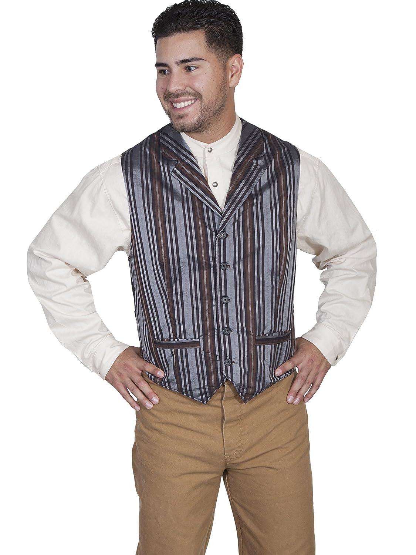 Victorian Men's Vests and Waistcoats Scully RW268 Mens Stripe Vest $55.05 AT vintagedancer.com