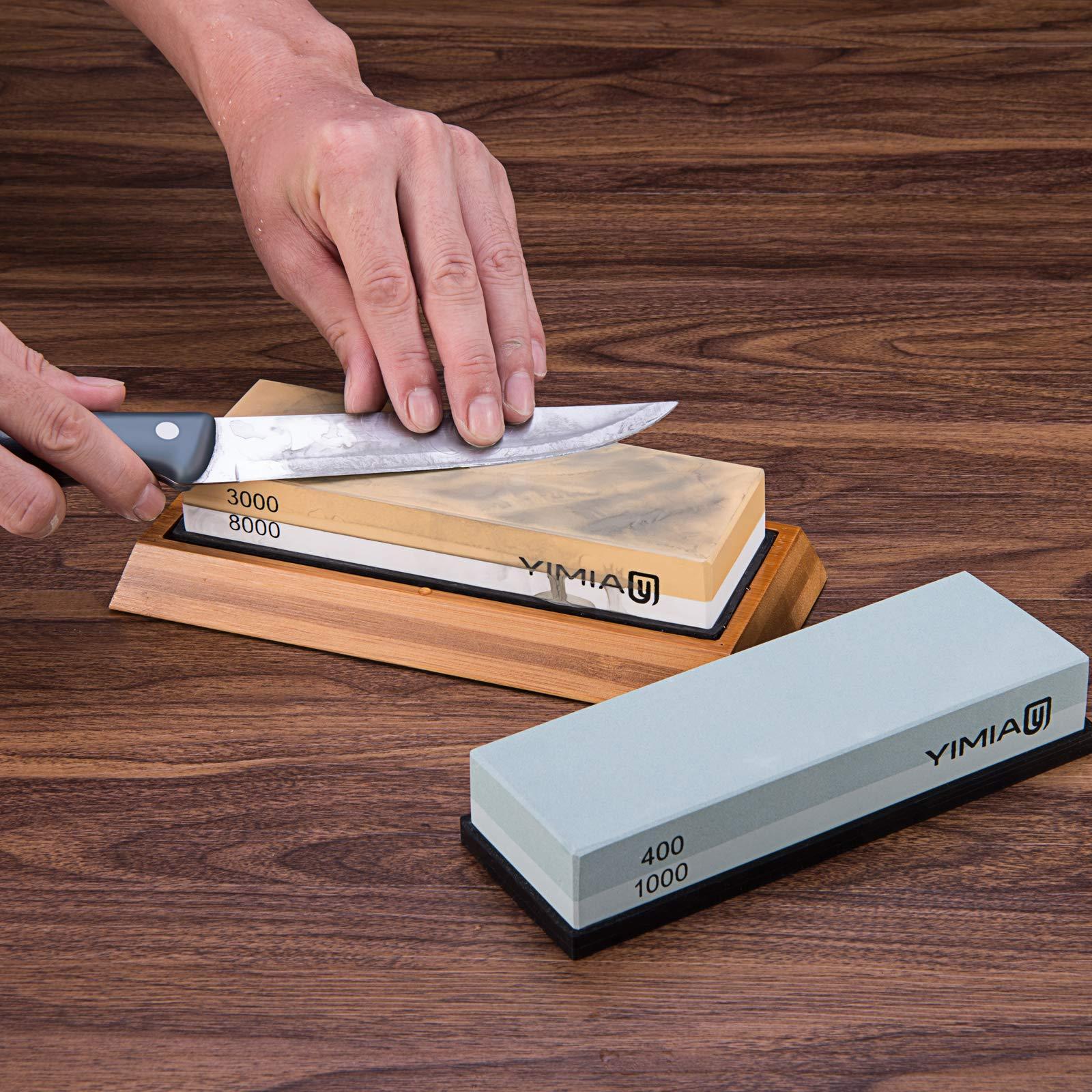 Premium Knife Sharpening Stone Kit, YIMIA 4 Side Grit 400/1000 3000/8000 Whetstone, Knife Sharpener Waterstone with Non-Slip Bamboo Base & Flattening Stone & Angle Guide by YIMIA (Image #6)