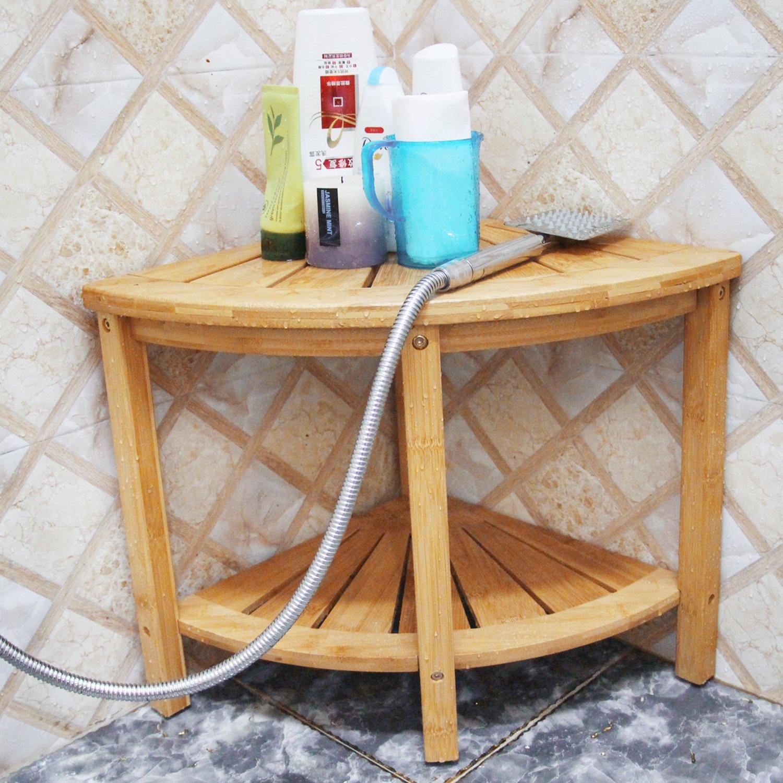 Corner Shower Bench with 2-Tier Storage Shelf,Deluxe Bamboo Shower ...