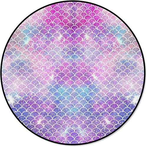 wanxinfu Round Area Mats Beautiful Mermaid Scale