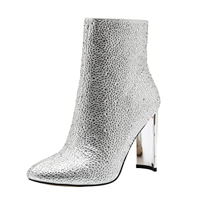 Vivi Womens High Heel Pointed Rhinestone Silver Ankle Boots