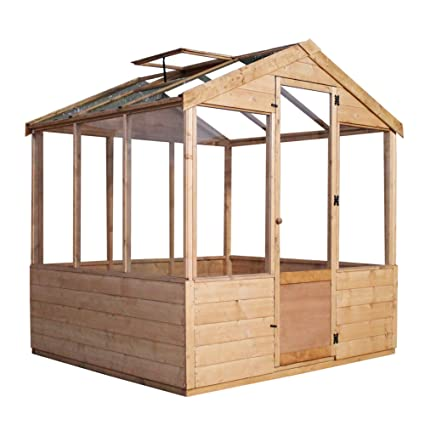 WALTONS EST  1878 6x6 Wooden Garden Greenhouse, Shiplap Construction, Dip  Treated with 10 Year Guarantee, Includes Apex Roof, Single Door, Styrene