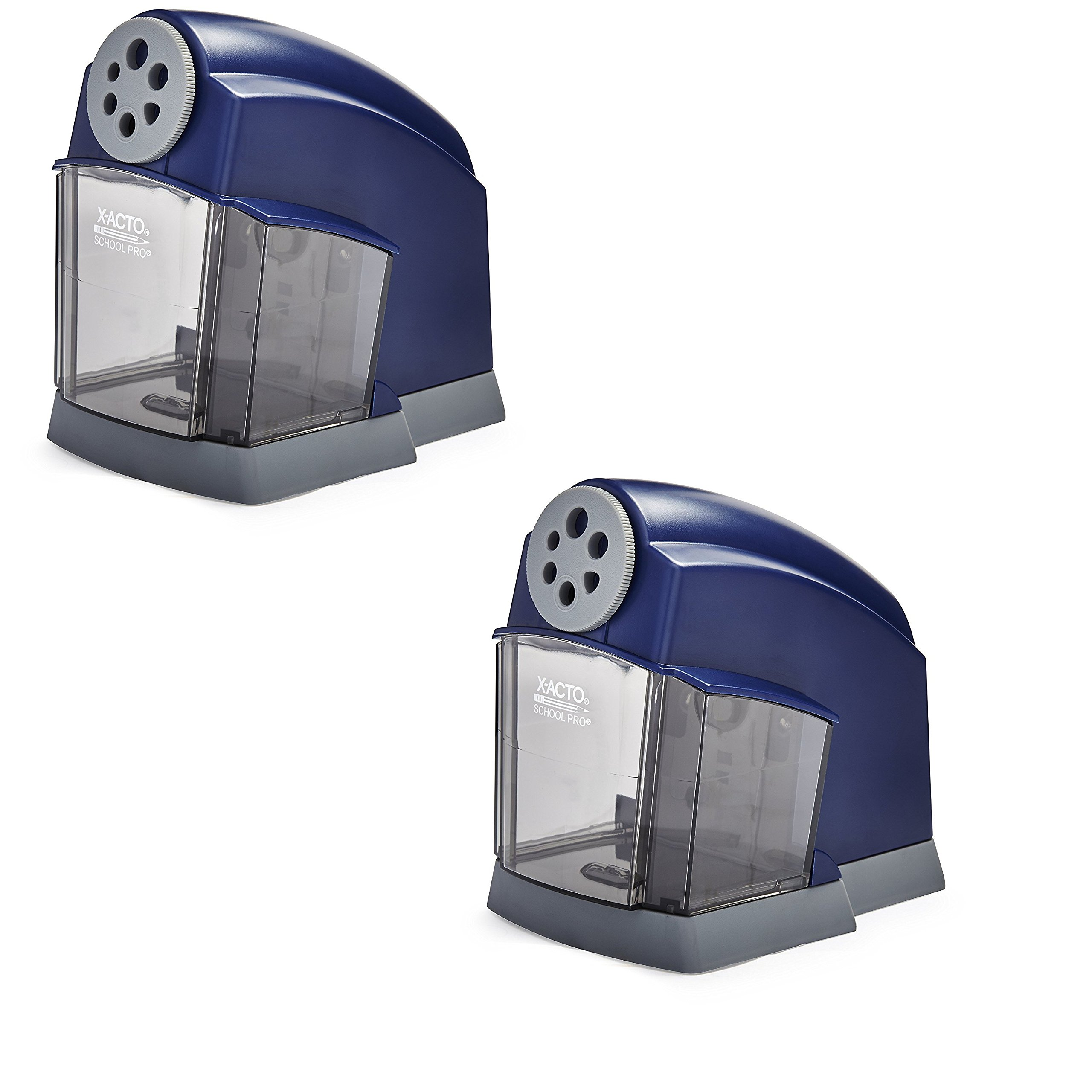 X-ACTO SchoolPro Classroom Electric Pencil Sharpener, Heavy Duty, Blue/Grey (2 Pack)